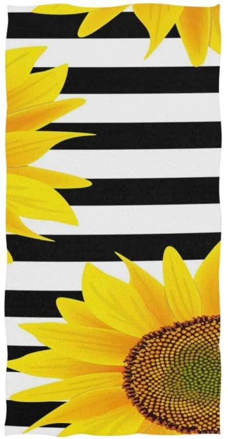 senya Sunflowers with Stripes Hand Towel Ultra Soft Luxury Towels for Bathroom 30