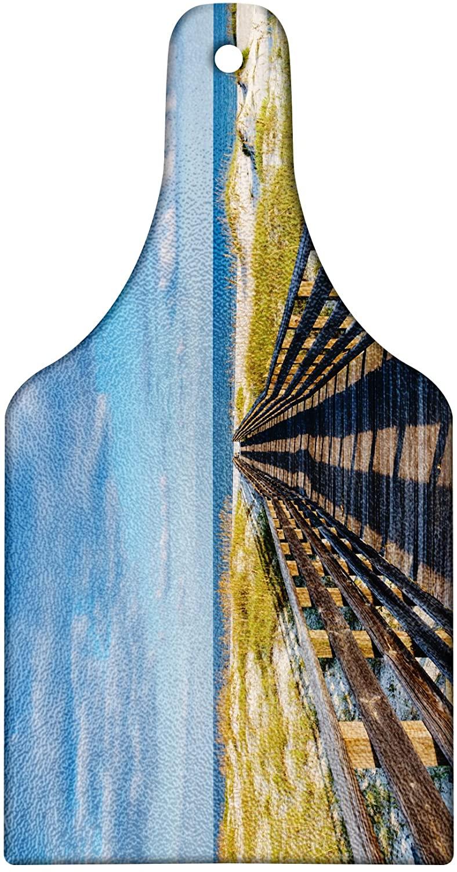 Lunarable Beach Cutting Board, Deck to the Alabama Gulf Coast Timber Honeymoon Travel Destinations Summer, Decorative Tempered Glass Cutting and Serving Board, Wine Bottle Shape, Brown Green Blue