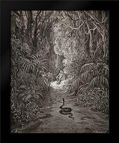 Satan As A Serpent, Enters Paradise in Search of Eve (from Miltons Paradise Lost) Framed Art Print by Dore, Gustave