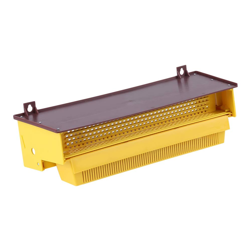 Removable Bee Pollen Trap 15.45.53.9inch Yellow Plastic Assemblable Pollen Trap Collector Entrance with Ventilated Pollen Tray Beekeeping Tool