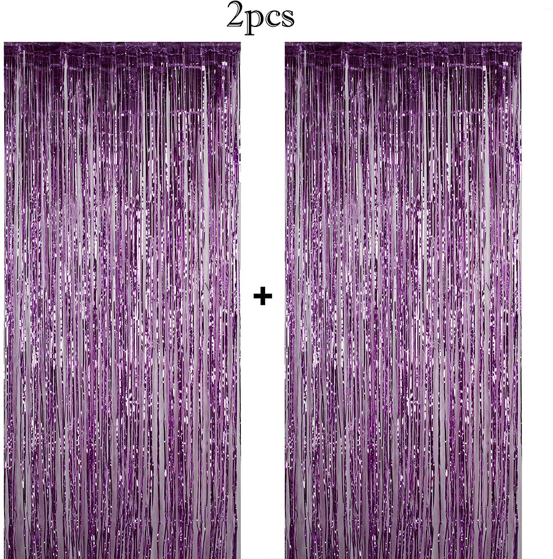 Funeez Foil Curtains (2-Pc. Set) Metallic Fringe Party Decoration | 3' X 8' | Doorway, Arch, Photo Booth, Celebration Backdrops | Great for Bachelorette, Baby Shower, Bridal Decorations (Purple)