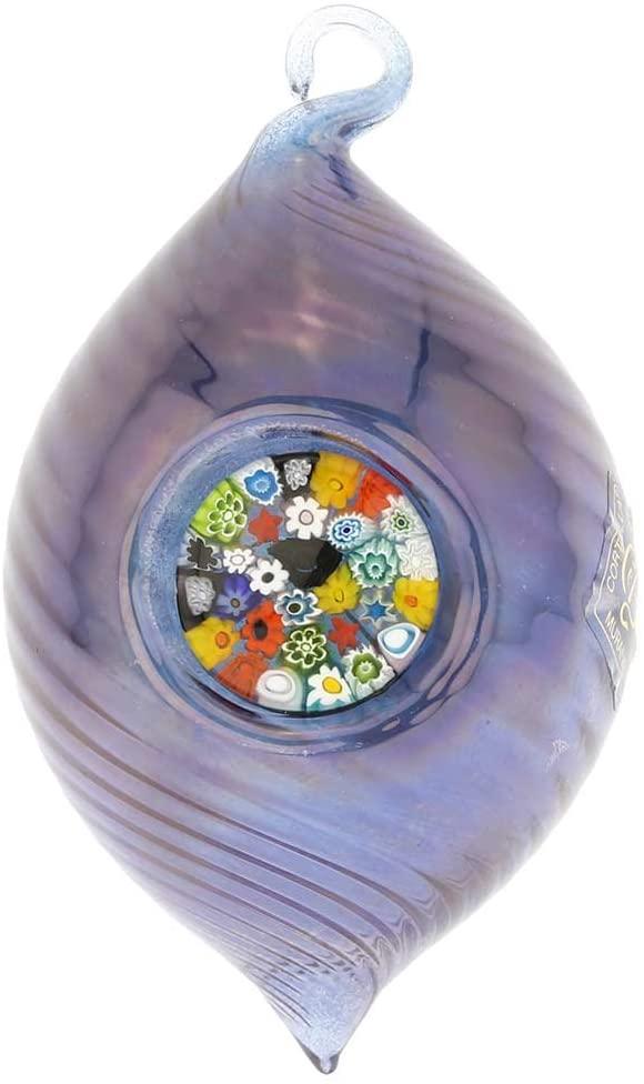 GlassOfVenice Murano Glass Christmas Ornament - Millefiori Blue