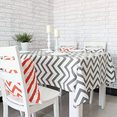 TAOSON Chevron Zig Zag Cotton Linen Canvas White Printed Tablecloth (Yellow,Black,Orange,Navy Blue,Aqua,Gray) - Dark Grey(55