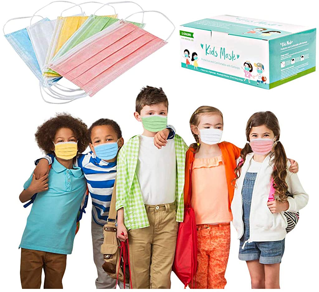 Weginte 10/20/50/100PCS Kids Cute Face Bandanas Children Breathable Mouth Kids Protective Outdoor School Activities for Kids