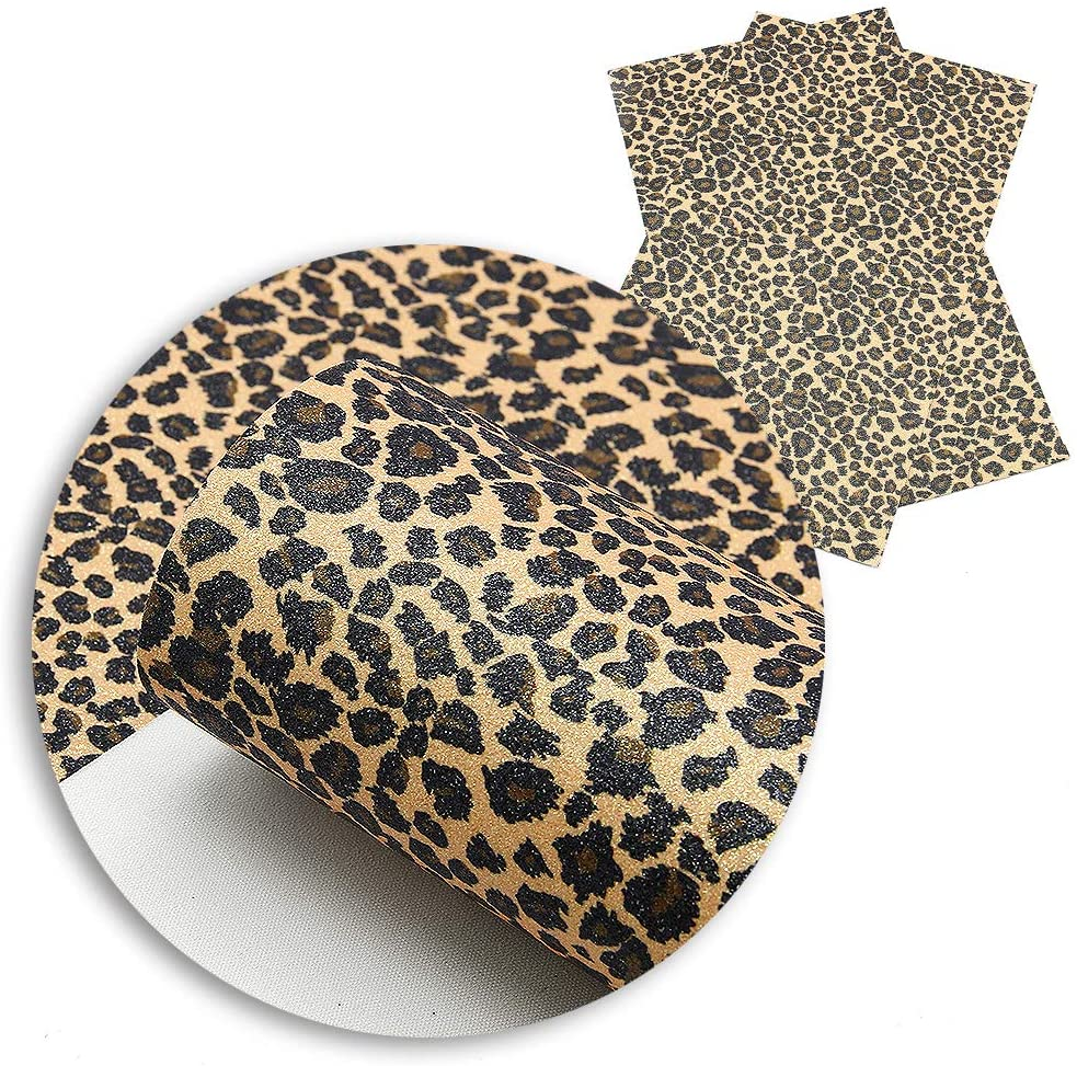 David Angie Fine Glitter Leopard Printed Faux Leather Fabric Sheet 5 Pcs 8 x 13 (20 cm x 34 cm) Thin Canvas Backing Perfect for Bags Earrings Making DIY Projects (Pattern B)