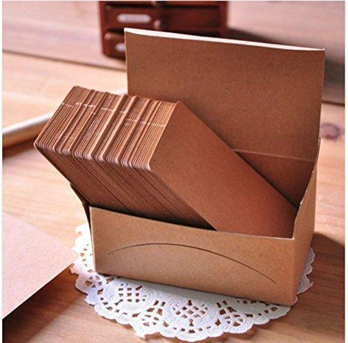 AKOAK 100 Pieces 9 x 5.4 cm Kraft Paper Card Double-sided Available Blank Kraft Cardboard Word Card Message Card DIY Blank Gift Card