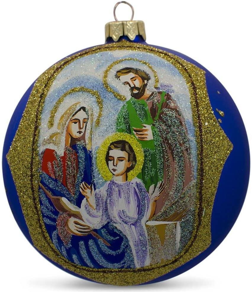 BestPysanky Holy Family Glittered Glass Ball Christmas Ornament 4 Inches