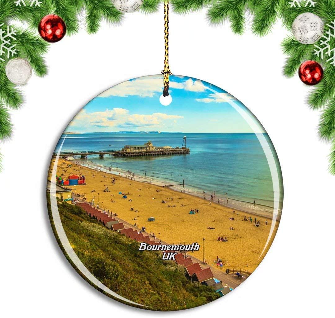 Weekino UK England Bournemouth Beach Christmas Xmas Tree Ornament Decoration Hanging Pendant Decor City Travel Souvenir Collection Double Sided Porcelain 2.85 Inch