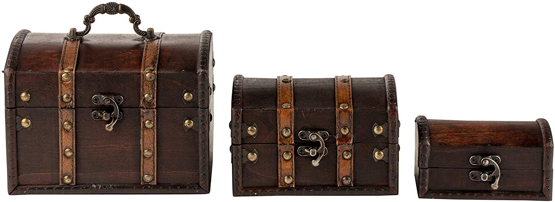 Antique Wooden Treasure Chest, Keepsake Boxes (3 Piece Set)