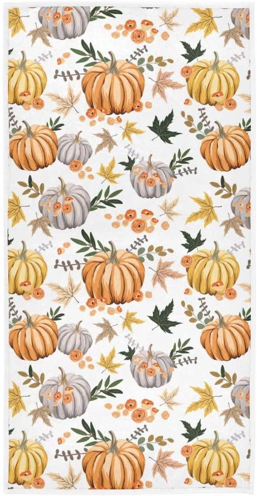 Autumn Orange Pumpkins Flowers Leaves Hand Towel Yoga Gym Cotton Face Spa Towels Absorbent Multipurpose for Bathroom Kitchen Hotel Home Decor Set 15x30 Inch