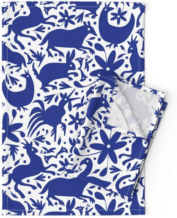 Roostery Tea Towels, Blue White Deer Otomi Cats Spring Happy Large Mexico Texas Scale Chickens Embroidery Roosters Print, Linen Cotton Tea Towels, Set of 2