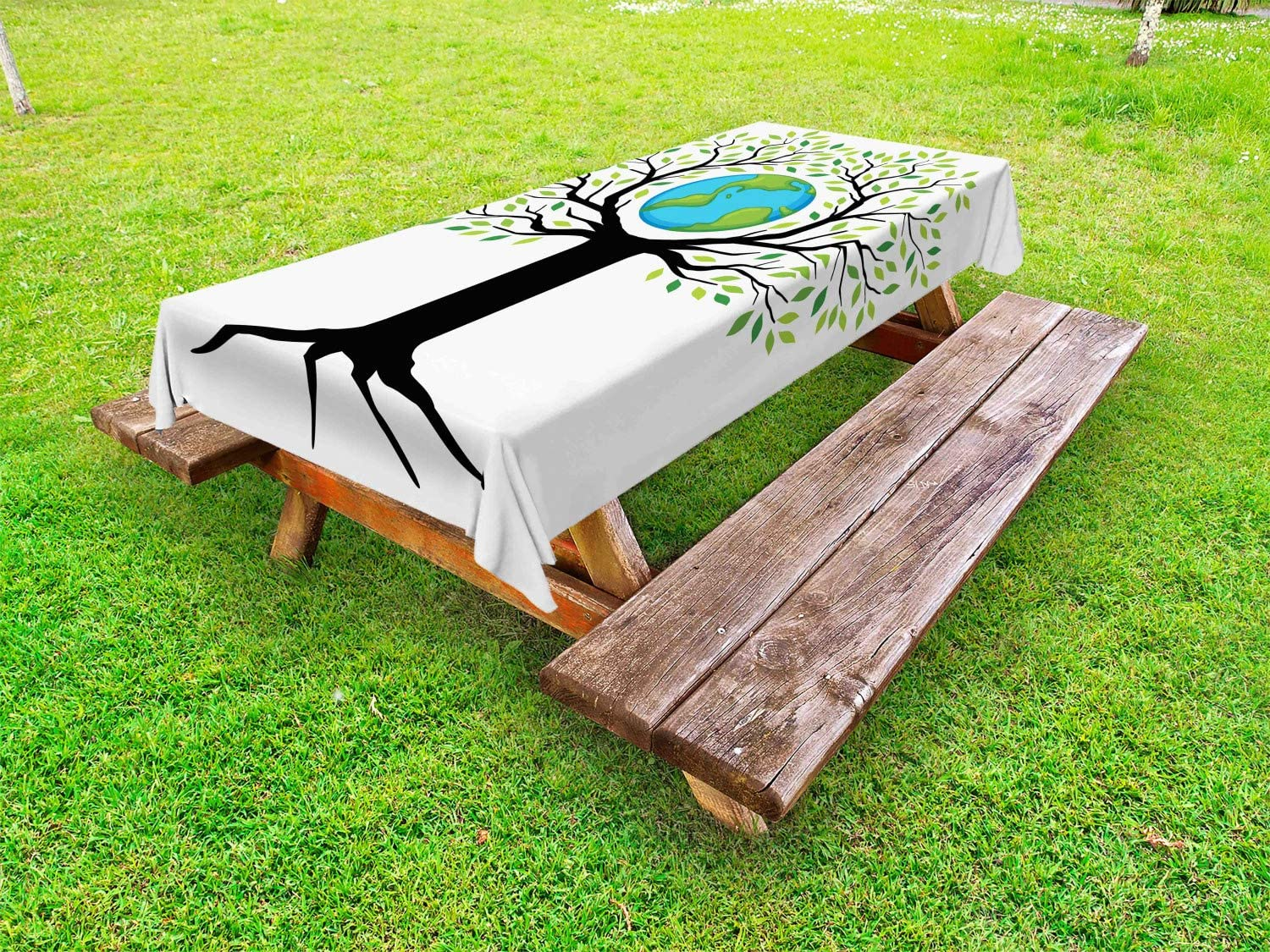 Ambesonne Tree of Life Outdoor Tablecloth, Eco Friendly Earth Tree Saving The Planet Life Climate Symbolic Home Art, Decorative Washable Picnic Table Cloth, 58