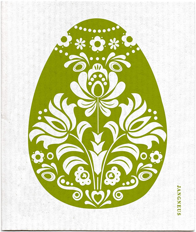 Jangneus Swedish Dishcloth/Sponge Cloth Eco-Friendly/Compostable Herb Garden Designs (1 Egg Big Green)