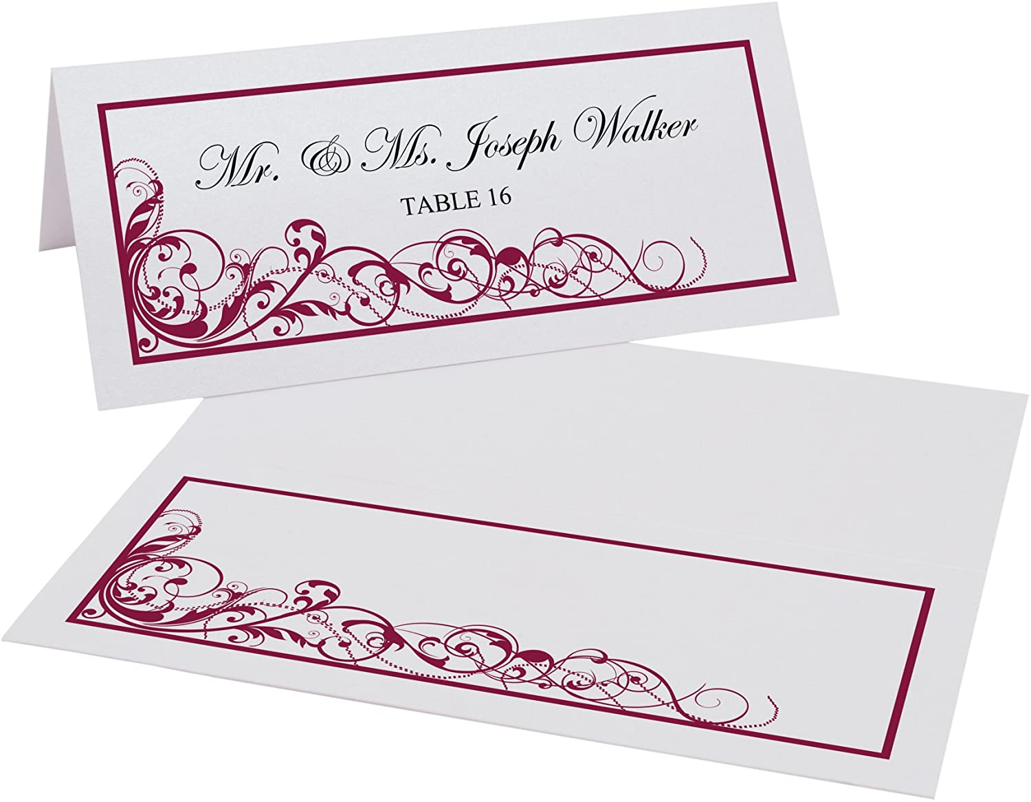Scribble Vintage Swirl Printable Place Cards, Burgundy, Set of 60 (10 Sheets), Laser & Inkjet Printers - Perfect for Wedding, Parties, and Special Events