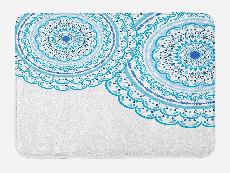 Ambesonne Mandala Bath Mat, Wedding Invitation Card Theme Lace Mandala and Place for Text Art Print, Plush Bathroom Decor Mat with Non Slip Backing, 29.5