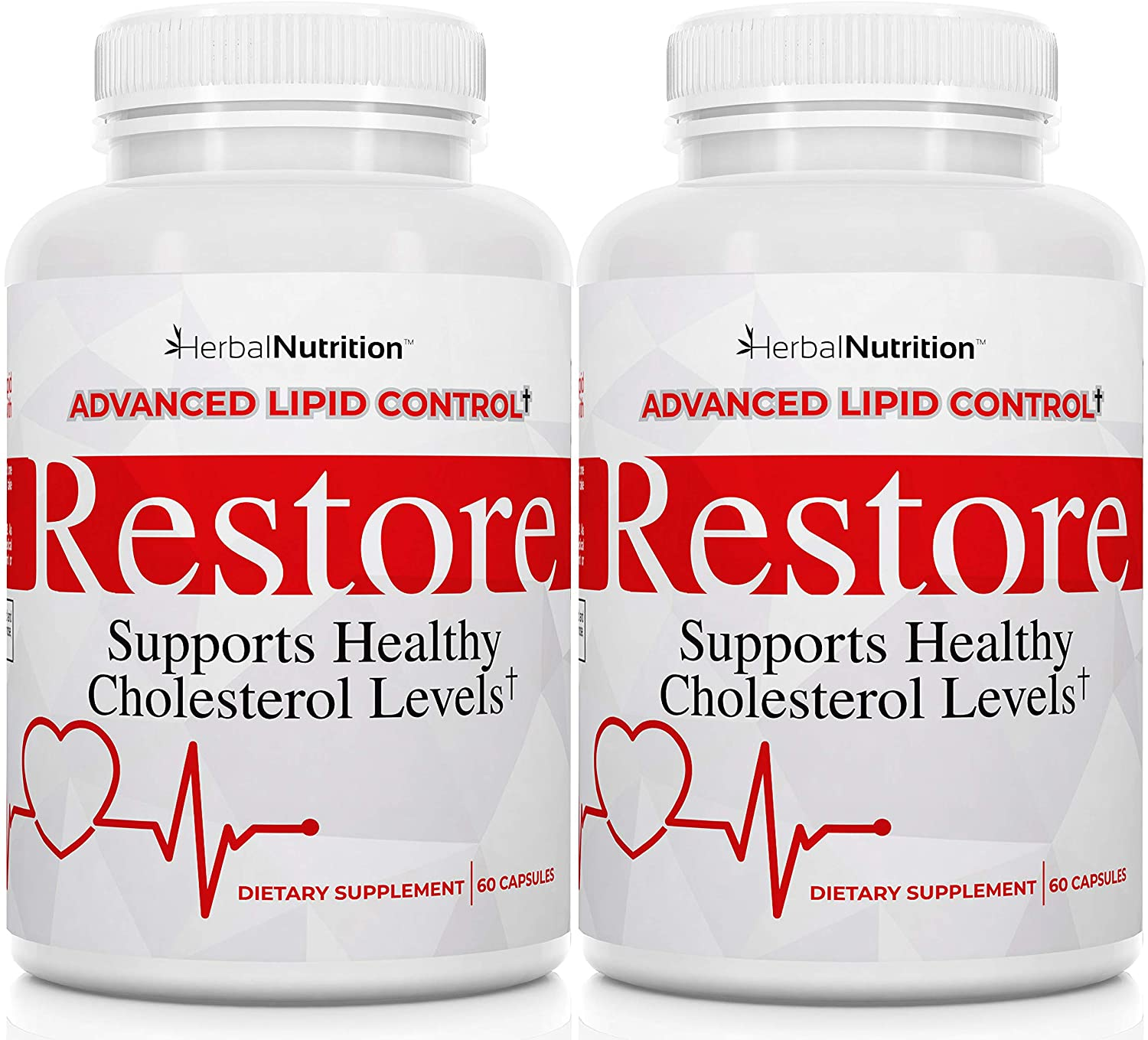 Restore - Best Cholesterol Lowering Supplement, Red Yeast Rice, Grape Seed Extract, Folic Acid for Advanced Lipid Control, All-Natural Bio-Actives, Lower Cholesterol in 90 Days Guaranteed Two Bottle