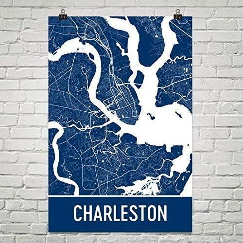 Charleston Poster, Charleston Art Print, Charleston Wall Art, Charleston Map, Charleston City Map, Charleston South Carolina City Map Art,Charleston Gift,Charleston Decor, (24