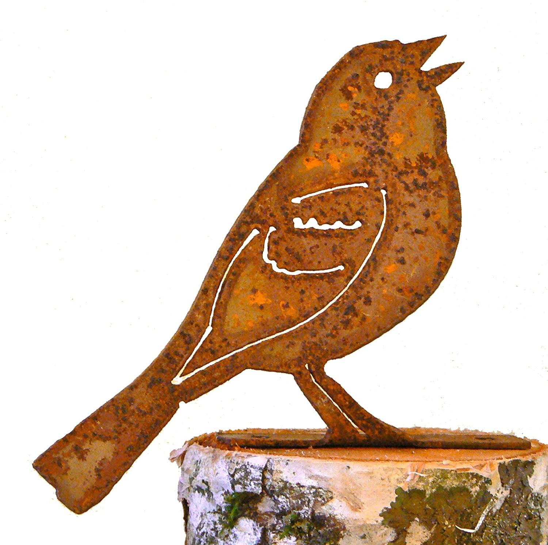 Elegant Garden Design Vesper Sparrow, Steel Silhouette with Rusty Patina