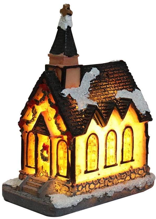 IMSHIE Resin Christmas Scene House Village and Figurines with Fiber Optic Led Light Exquisite Luminous Christmas House Hut Decor