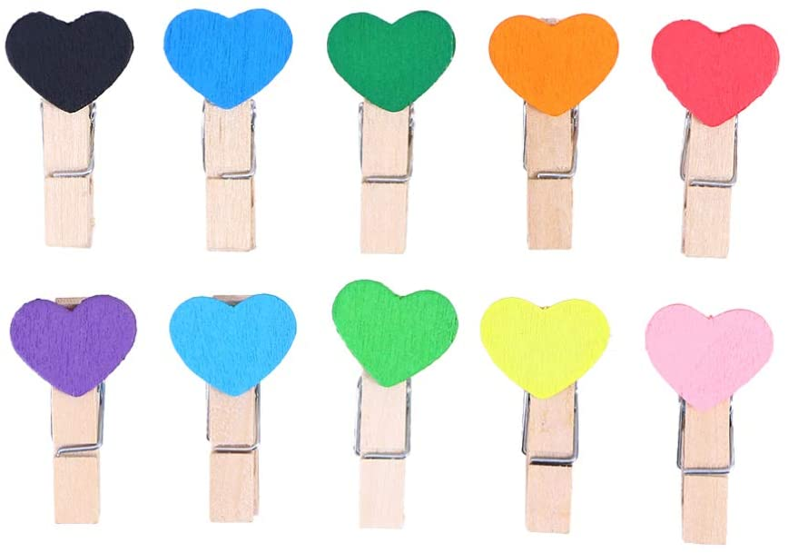 Exceart 100pcs Mini Wooden Clothespins Cute Photo Clips Heart Shape Wall Hanging Photo Clips Picture Pegs Craft Clips Assorted Color