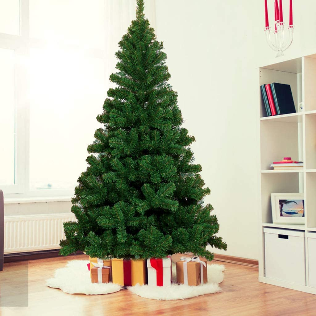 Artificial Christmas Pine Tree, 7.5ft Hinged Fir Pencil Christmas Tree Fake Xmas Tree Holiday Decoration - 1075 Branch Tips and Metal Stand (Green)