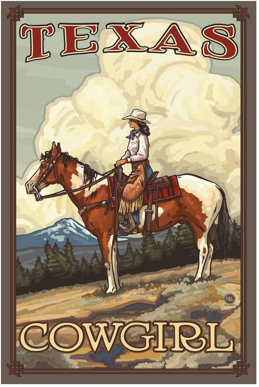 Texas Summer Cowgirl Giclee Art Print Poster from Original Travel Artwork by Artist Paul A. Lanquist 12