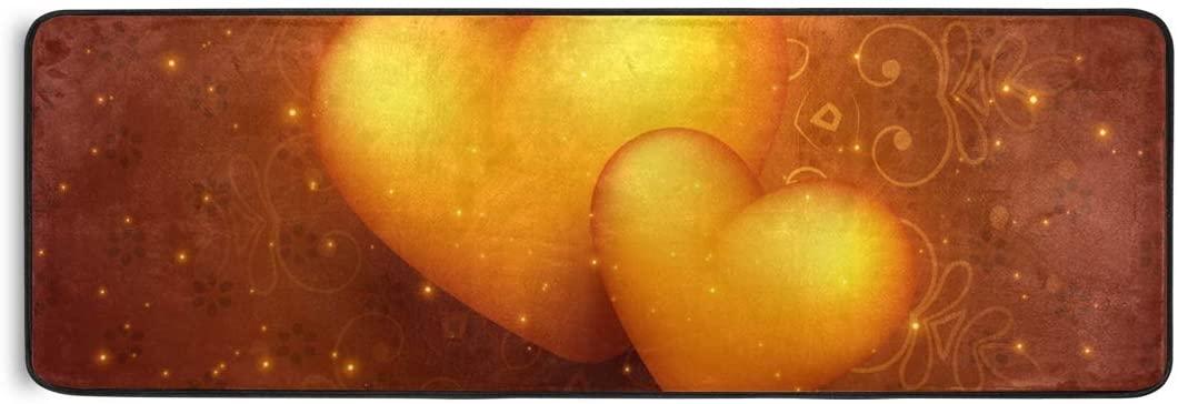 Bolaz Doormat Area Rug Mat Hearts Valentines Day Runner Carpet for Bedroom Front Door Kitchen Indoors Home Decoration 72 x 24inch