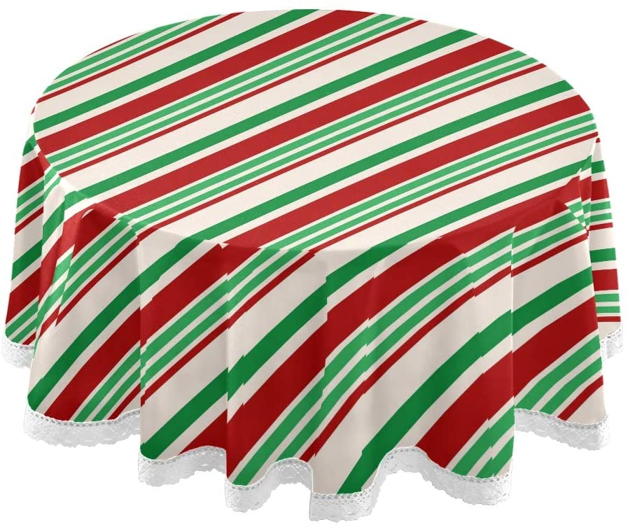 ALAZA Christmas Red Green Stripes Round Tablecloths Cover Table Cloth Cover Mat Picnic Table Cover Oilcloth Camping Tablecloth Tabletop Dining Room Kitchen Round 60 Inch for Outdoor