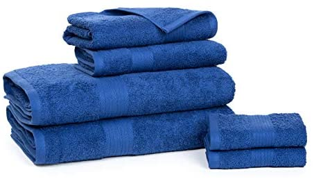 Ample Decor Set of 6 Light Weight 100% Cotton Super Soft, High Absorbent, Quick Dry Towel Set - 6 Piece Family Bathroom Towel Set (2 x Bath, 2 x Hand Towels and 2 x Wash Cloths) – Navy