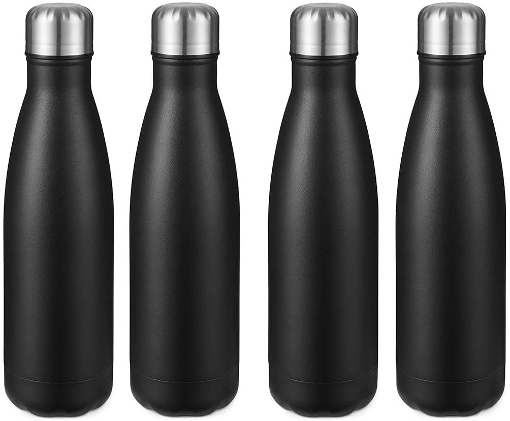 17oz Sport Water Bottle 4 pack Vacuum Insulated Stainless Steel Sport Water Bottle Leak-Proof Double Wall Cola Shape Water Bottle, Keep Drinks Hot & Cold - Black, 1 Pack