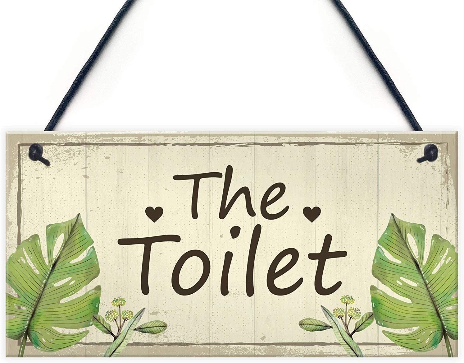 INNAPER The Toilet Wood Signs for Wall Haning Home Decoration Plaques Bathroom Accessories 12x6 Inches(BW805)