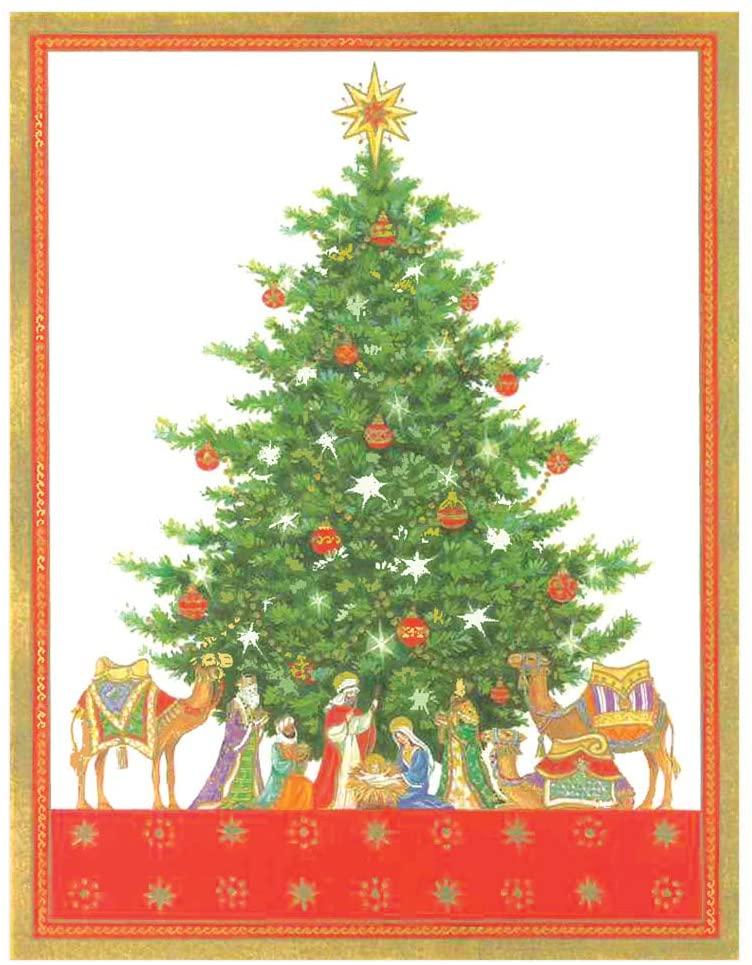 Caspari Tabletop Nativity Tree Boxed Christmas Cards - 16 Cards & Envelopes