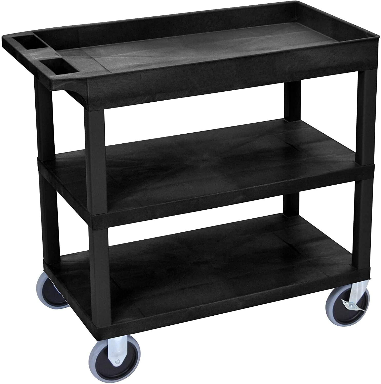 Top Tub Shelf and Middle Bottom Flat Shelves Heavy Duty Cart Black Modern Contemporary Plastic