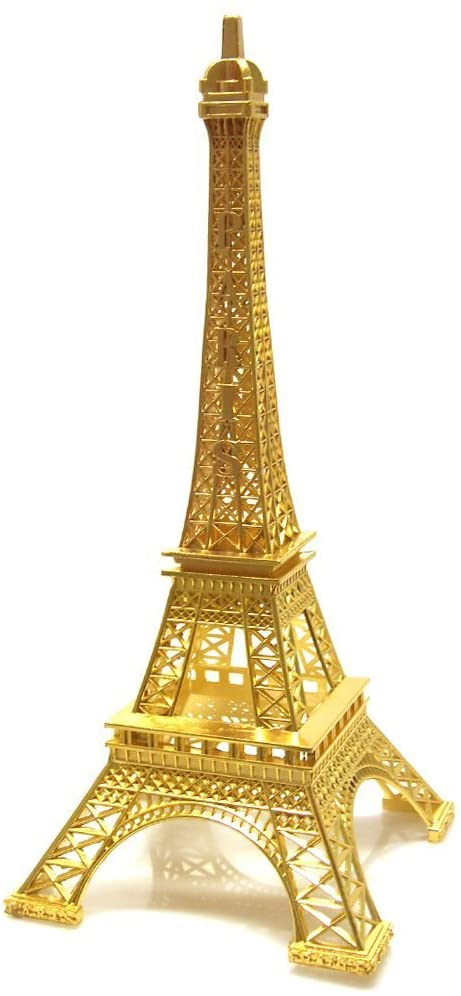 Ben Collection Paris Metal Eiffel Tower Stand Model for Table Decoration Statue Figurine Replica Centerpiece (Gold, 15 Inch)