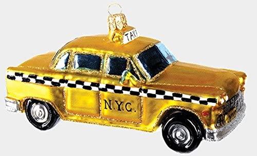 Pinnacle Peak Trading Company New York City Taxi Cab Polish Glass Christmas Ornament NYC Travel Decoration