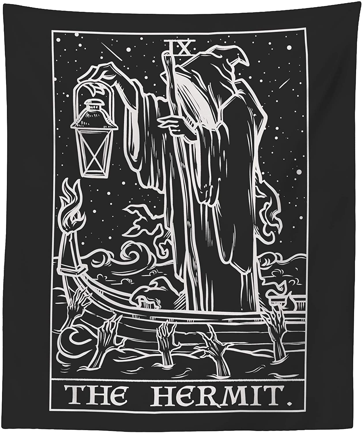 The Hermit Tarot Card Tapestry (Black & White) - Grim Reaper - Gothic Halloween Home Decor Wall Hanging (59