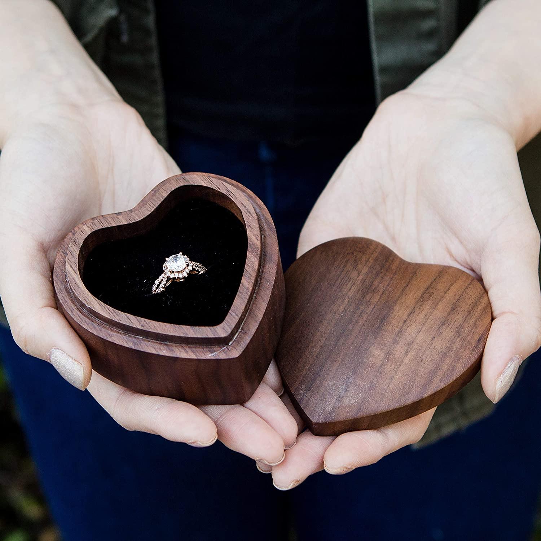 Heart Wood Ring Box (Engagement Proposal Ring Box - Wedding Ring Bearer Box - Ring Storage Gift Box)