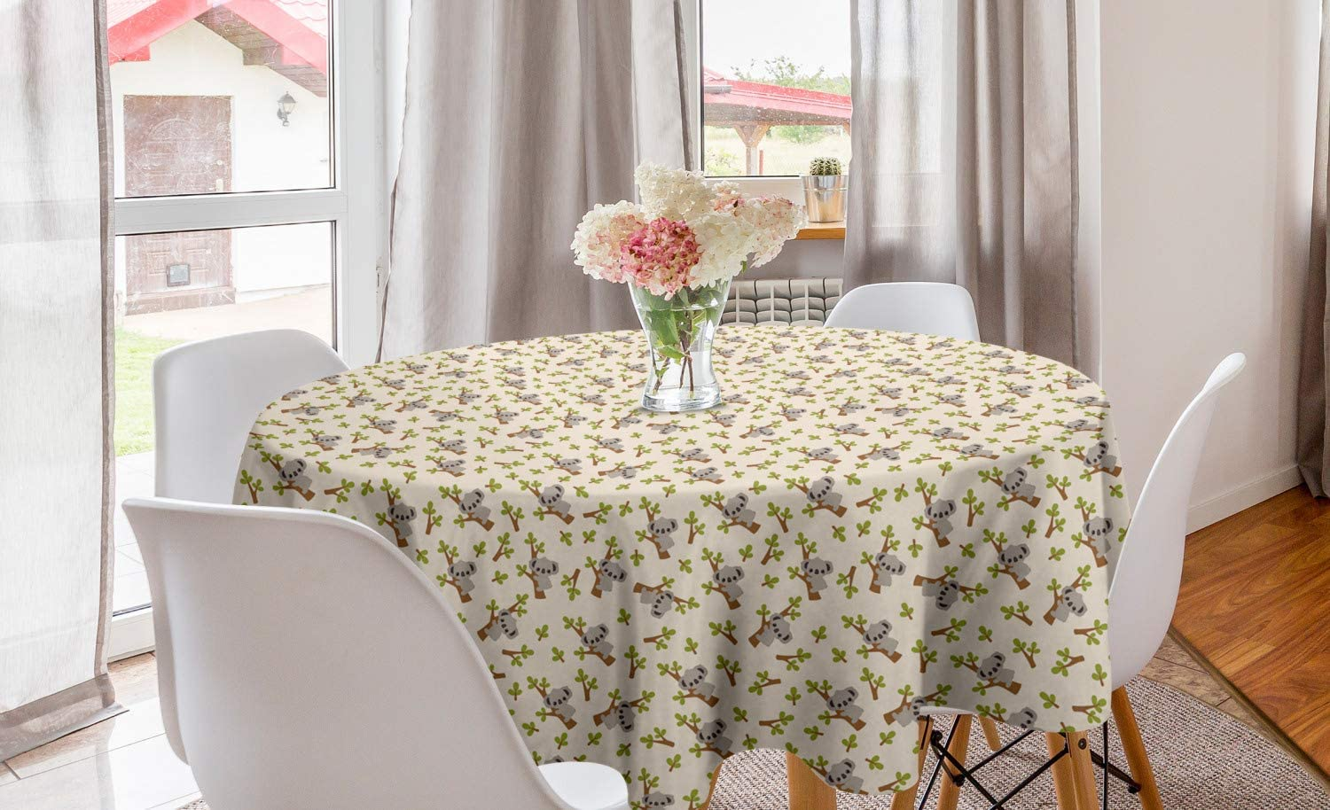 Lunarable Aussie Round Tablecloth, Repetitive Pattern of Cartoon Koala, Circle Table Cloth Cover for Dining Room Kitchen Decoration, 60