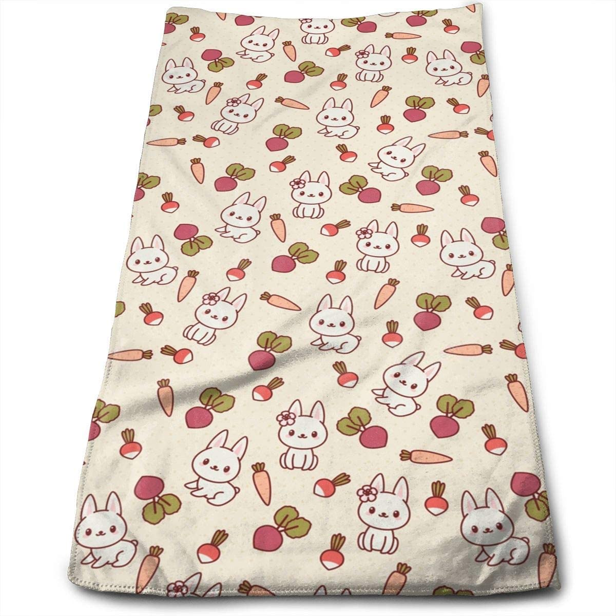 ~ Rabbit Vegetables Bath Hand Towels Dish Cloth Machine Washable Kitchen Towels Tea Towels for Drying Cleaning Cooking Baking