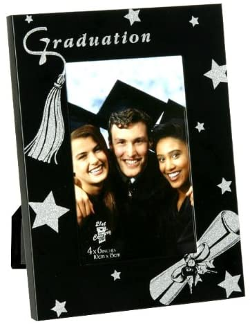 Okatree Gifts Black Aluminium Graduation Photo Frame with Silver Coloured Glitter 4 x 6