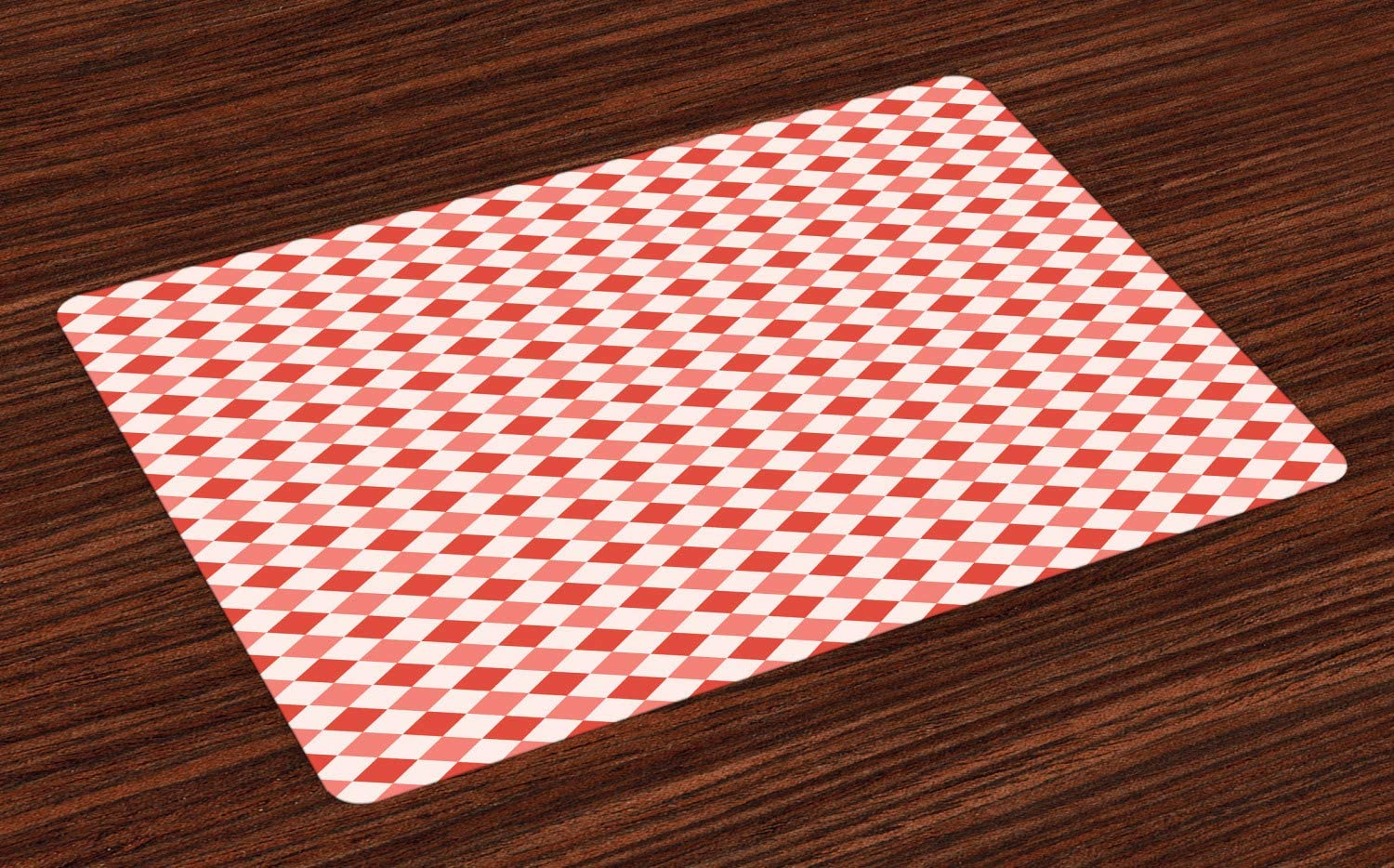 Lunarable Checkered Place Mats Set of 4, Chessboard Pattern with Diamond Shapes Scottish Traditional Grid, Washable Fabric Placemats for Dining Room Kitchen Table Decor, Coral Vermilion Baby Pink