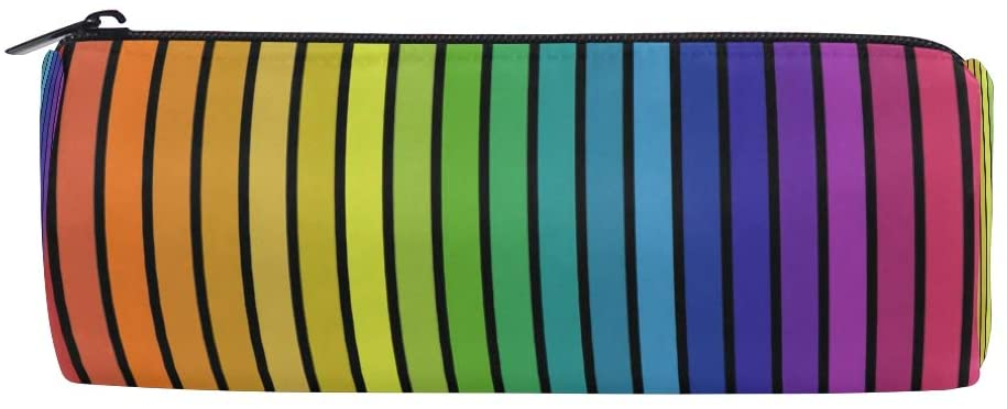 Rainbow Color Stripes Pencil Case Office Pencil Holder Pouch Bag Pen Pencil Stationery Cosmetic Bag