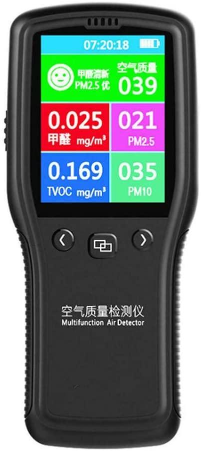 Kecheer Portable Air Quality Detector, 8 in 1 Detector Air Quality Meter Monitor PM2.5 PM10 Formaldehyde HCHO TVOC LCD Digital Detector
