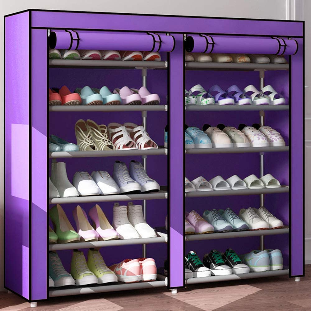 6 Tier Shoe Rack Organizer for 36 Pair Shoes, Double Rows 12 Lattices Free Standing Shoe Cabinet Storage Shelf Holder with Non-Woven Fabric Dustproof Cover,Large Portable Closet Shoe Tower (Purple)