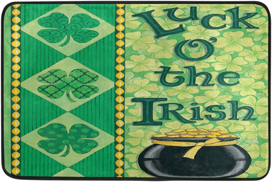 St.Patrick's Day Decoration Doormat Home Decor Luck of The Irish Shamrock Clovers Gold Coins Welcome Indoor Outdoor Entrance Bathroom Floor Mats Non Slip Washable Hoilday Pet Food Mat, 24x16 inch