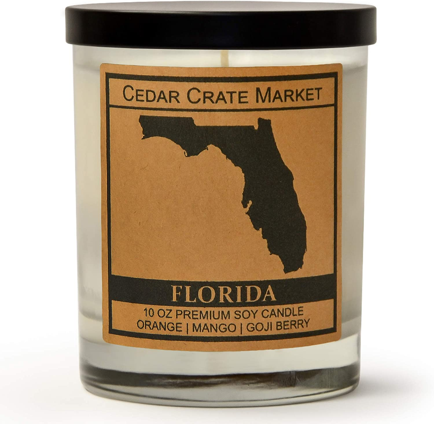 Florida Kraft Label Scented Soy Candle, Orange, Mango, Goji Berry, 10 Oz. Glass Jar Candle, Made in The USA, Decorative Candles, Going Away Gifts for Friends, State Candles
