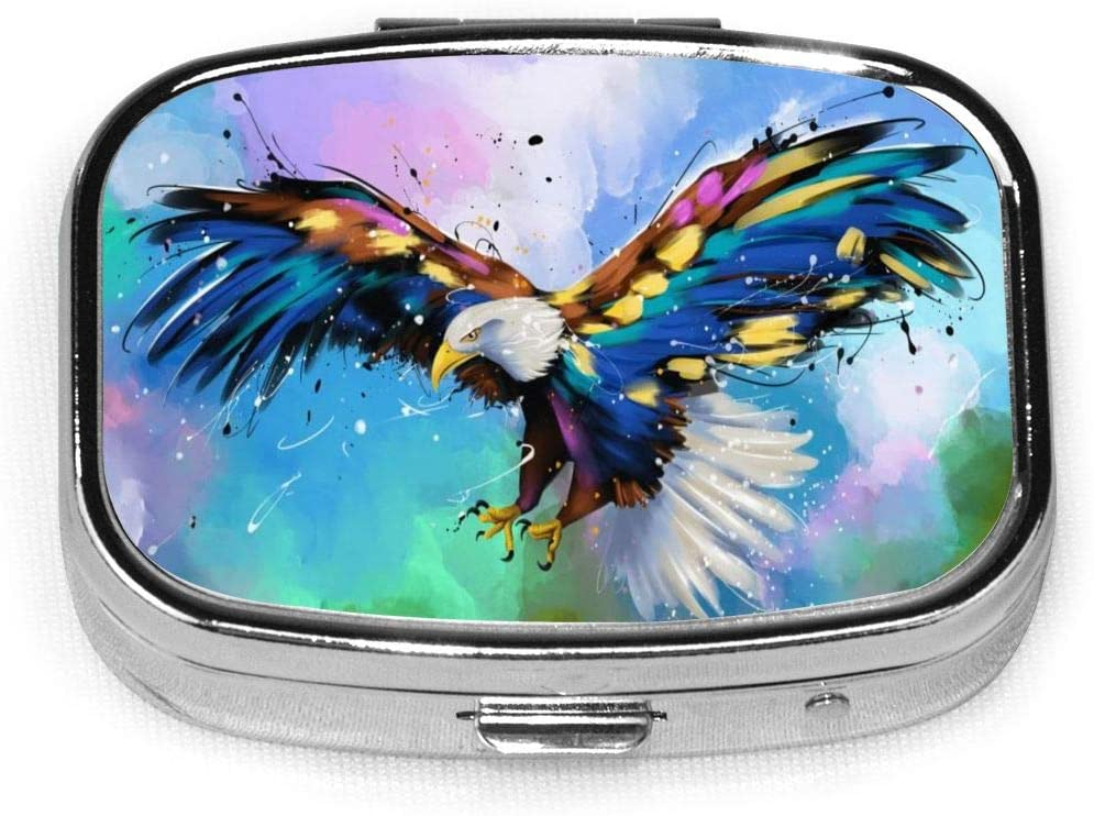 Daily Pill Organizer Colored Eagle Preying Square Medicine Box Case Compact 2 Compartment Vitamins Tablet Holder Container Metal Portable for Daily Needs Travel Purse Pocket