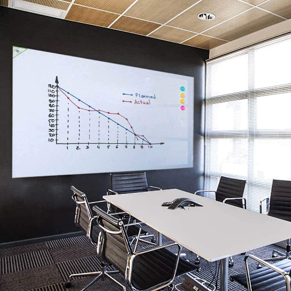"ZHIDIAN Large Magnetic Whiteboard Contact Paper for Wall, 72"" x 48"" or 6' x 4' - Magnetic Dry Erase Board Sticker with Non-Adhesive Backing, Includes 4 Markers"