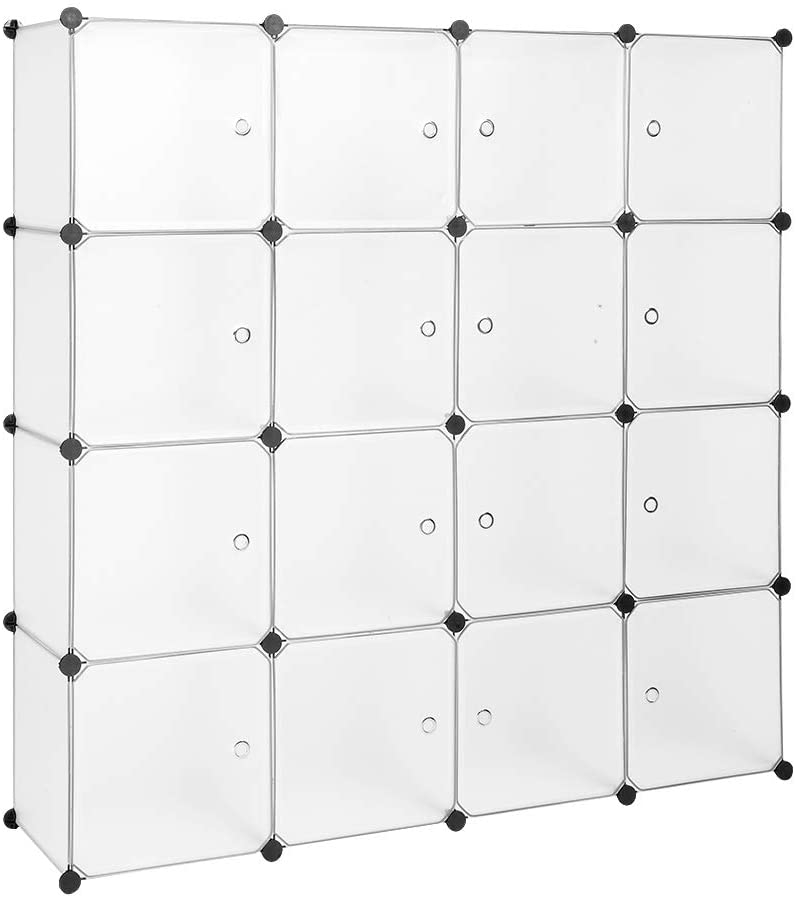 Closet Organizer Plastic Cabinet, 16 Cube Wardrobe Cubby Shelving Storage Cubes Drawer Unit, DIY Modular Bookcase Closet System Cabinet with Doors for Clothes, Shoes, Toys, White