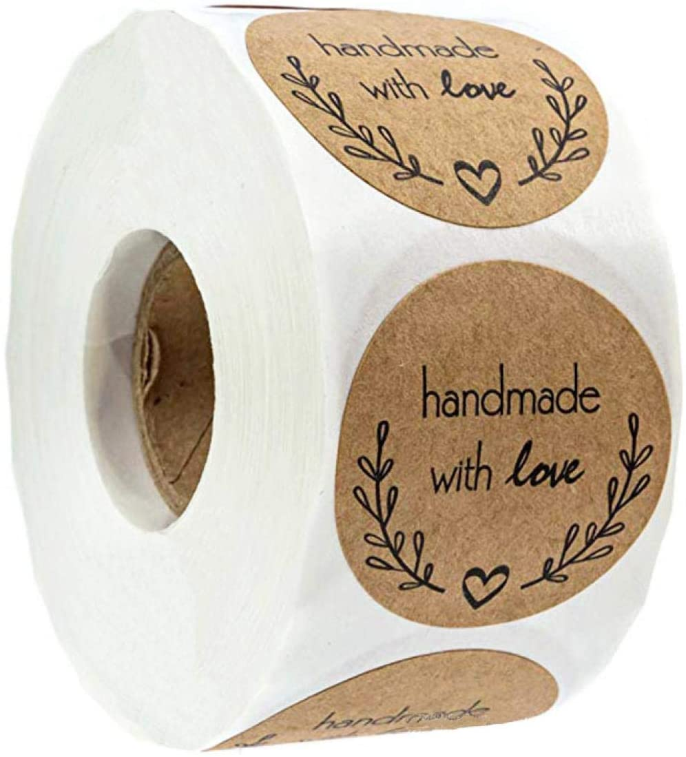 "Louise Maelys 1"" Kraft Paper Round Sealing Stickers Handmade with Love Sticker Labels for Gift Wrapping or Craft Making 500pcs per Roll"